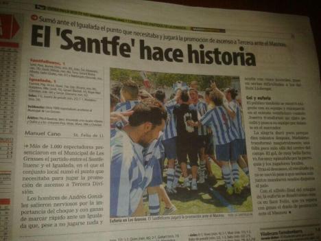 Mundo Deportivo assenyala que el Santfe fa història classificant-se per a la segona promoció d'ascens a Tercera.