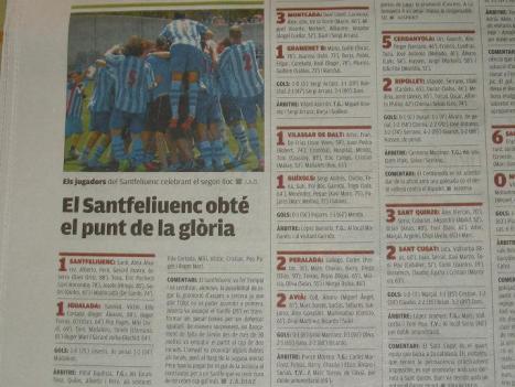 El 9 Esportiu destaca l'obtenció del punt que encimbella el Santfe a la glòria de la promoció.