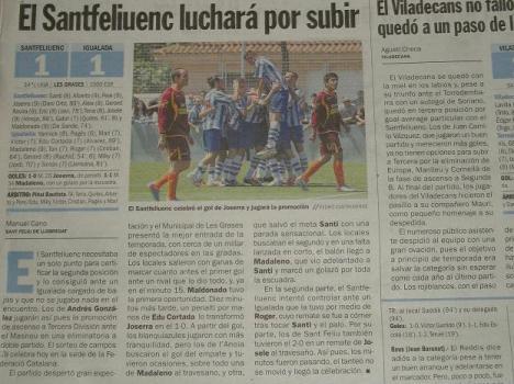 El diari Sport destaca que el Santfeliuenc lluitarà per pujar per primera vegada  Tercera.