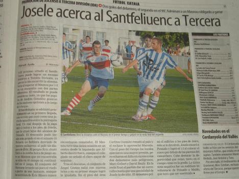 Per a Mundo Deportivo els gols de Josele apropen el Santfeliuenc a Tercera