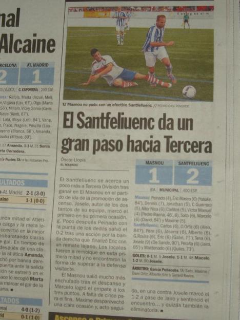 Per al diari Sport el Santfeliuenc fa un gran pas cap a Tercera